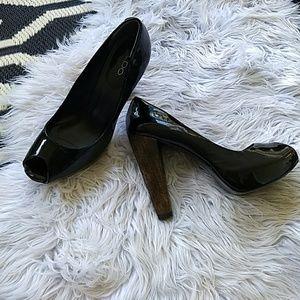 Aldo Wooden heel peep toe platform heels black 10